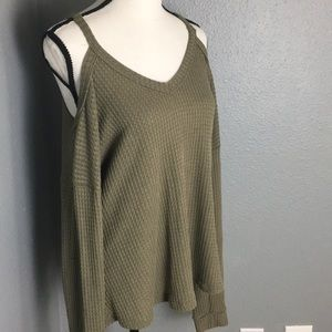 Honey Punch Cold Shoulder Waffle Knit Sweater
